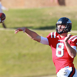 Samford quarterback Andy Summerlin passes against  Wofford in the first half at Seibert Stadium in Homewood, Ala., Saturday, Oct 13, 2012. Samford defeats Wofford 24-17 in Overtime. (Marvin Gentry)