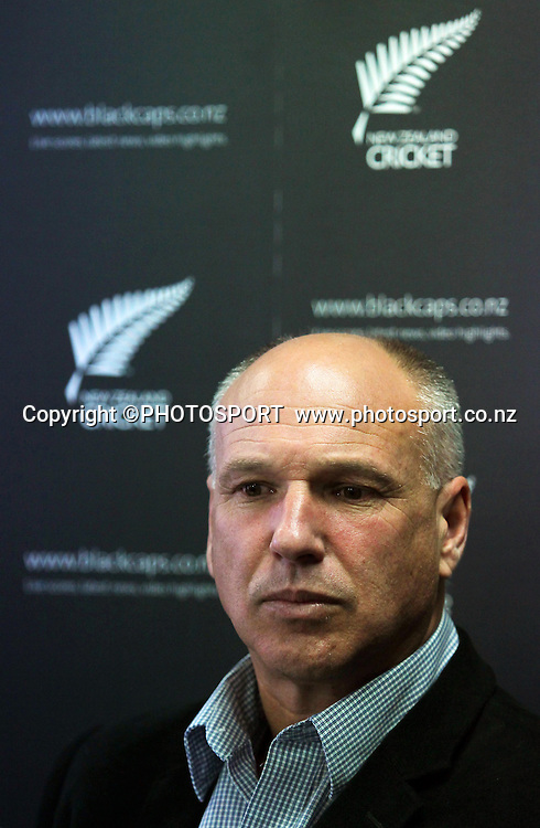 David White, CEO of New Zealand Cricket, address the media at a press conference to announce John Wright not re-signing with the Black Caps as their head coach. New Zealand Cricket headquarters, Lincoln University, Christchurch Tuesday 1 May 2012. Photo: Joseph Johnson/www.photosport.co.nz