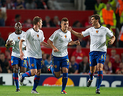 27.09.2011, Old Trafford, London, ENG, UEFA CL, Gruppe C, Manchester United (ENG) vs FC Basel (SUI), im Bild FC Basel 1893's Fabian Frei celebrates scoring his side's first goal against Manchester United with team-mate Jacques Zoua, Granit Xhaka and Aleksandar Dragovic // during the UEFA Champions League game, group C, Manchester United (ENG) vs FC Basel (SUI) at Old Trafford stadium in London, United Kingdom on 2011/09/27. EXPA Pictures © 2011, PhotoCredit: EXPA/ Propaganda Photo/ David Rawcliff +++++ ATTENTION - OUT OF ENGLAND/GBR+++++