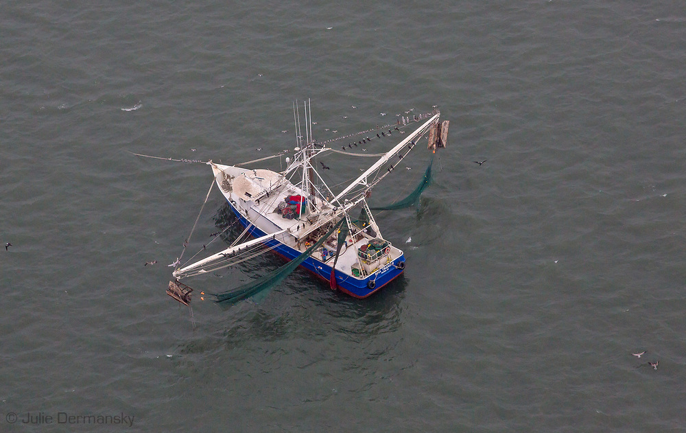 Aerial view of a shrimp boat in the Gulf of Mexico