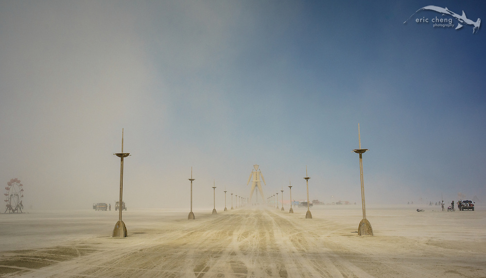 The road to The Man at 6:00. Burning Man 2014