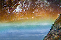 Close-up of a rainbow at the Maggia Falls in Ticino, Switzerland.