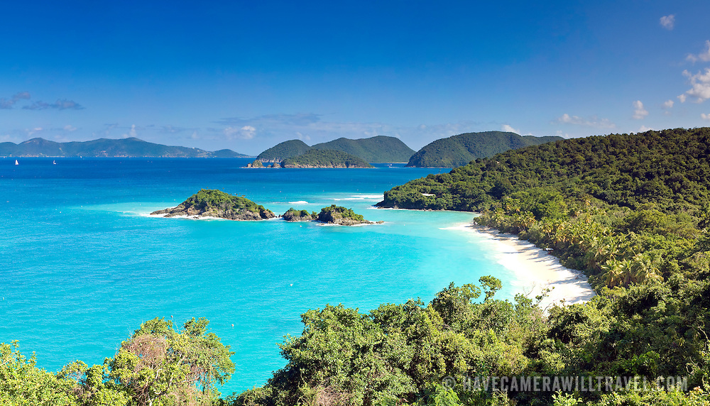 Trunk Bay on St. John in the US Virgin Islands. High resolution panorama.