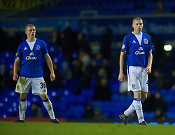 LIVERPOOL, ENGLAND - Thursday, December 17, 2009: Everton's Jake Bidwell and Nathan Craig in action against FC BATE Borisov during the UEFA Europa League Group I match at Goodison Park. (Pic by David Rawcliffe/Propaganda)