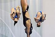 © Filippo Alfero<br /> Torino, 02/04/2009<br /> sport , tuffi<br /> Campionati Europei di Tuffi Torino 2009<br /> Nella foto: Piattaforma 10m sincronizzato donne - Natalia Goncharova e Yulia Koltunova (RUS) - medaglia d'oro<br /> <br /> © Filippo Alfero<br /> Turin, Italy, 02/04/2009<br /> Arena European Diving Championships - Turin 09<br /> In the photo: Women's 10m Synchro Platform - Natalia Goncharova and Yulia Koltunova (RUS) - gold medal