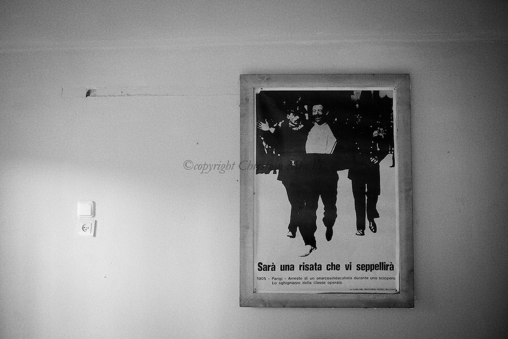 "TEL AVIV: an historical anarchist poster with the famous sentence from Mikhail Bakunin: ""A laughter that will bury you all' is hung on the wall of the house on an anarchist of Tel Aviv.Copyright Christian Minelli"