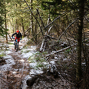 Andrew Whiteford gets one last ride before a season ending snow storm covers all the Singletrack in snow.