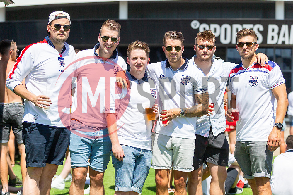 Fans pose for a photo prior to kick off - Ryan Hiscott/JMP - 05/07/2018 - FOOTBALL - Ashton Gate - Bristol, England - Sweden v England, World Cup Quarter Final, World Cup Village at Ashton Gate