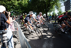 Tayler Wiles (USA) of Trek-Segafredo leans into a corner on La Course by Le Tour de France, a 121 km road race starting and finishing in Pau, France on July 19, 2019. Photo by Balint Hamvas/velofocus.com