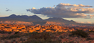 Sunset over mountains at Arches National Park, Utah, USA
