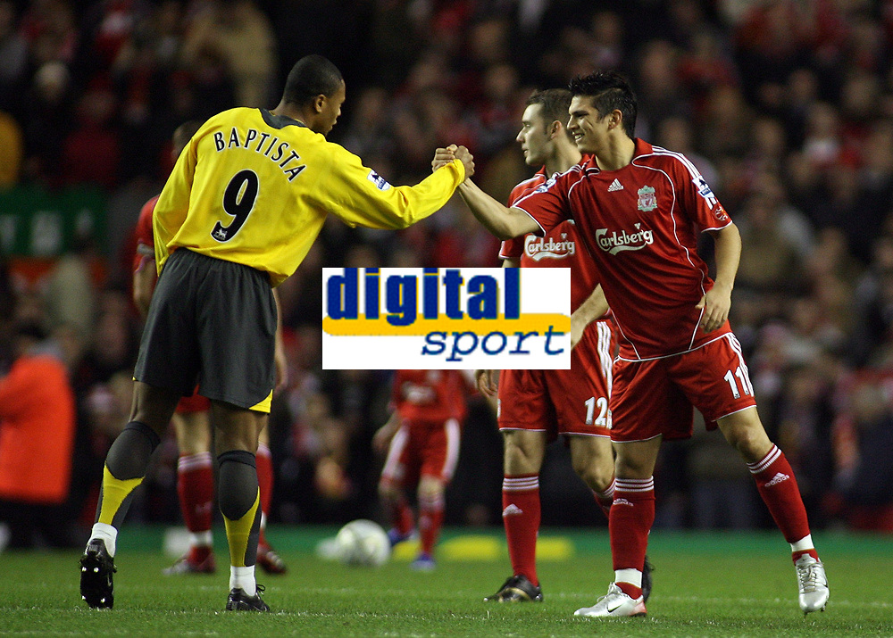 Photo: Paul Thomas.<br /> Liverpool v Arsenal. Carling Cup. 09/01/2007.<br /> <br /> Julio Baptista (L) of Arsenal and Mark Gonzalez of Liverpool shake hands before the match.