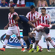United States Attacker CLINT DEMPSEY (8) and Paraguay Midfielder VICTOR AYALA (20) battle for the ball in the first half of a Copa America Centenario Group A match between the United States and Paraguay Saturday, June. 11, 2016 at Lincoln Financial Field in Philadelphia, PA.