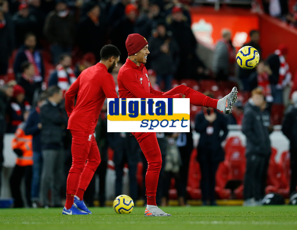 Football - 2019 / 2020 Premier League - Liverpool vs. Everton<br /> <br /> Roberto Firmino of Liverpool starts on the bench for tonight's game, at Anfield.<br /> <br /> COLORSPORT/ALAN MARTIN