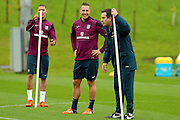 England defender Phil Jagielka laughs at England coach Gary Neville during the England Training Session at St George's Park National Football Centre, Burton-Upon-Trent, United Kingdom on 7 October 2015. Photo by Aaron Lupton.