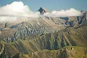 View of Mount Vallier from the Pic de la Calabasse (2210m) near Saint-Lary, Ariege, Midi-Pyrenees, France.