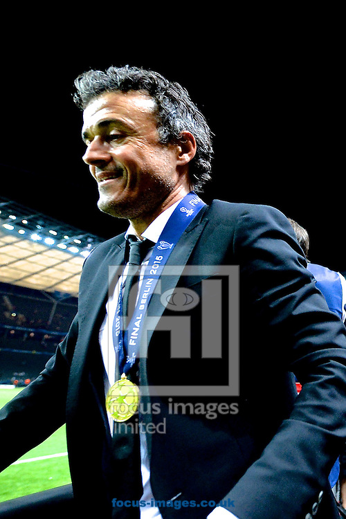 FC Barcelona manager Luis Enrique celebrates following the UEFA Champions League Final at Olympiastadion Berlin, Charlottenburg-Wilmersdorf<br /> Picture by Ian Wadkins/Focus Images Ltd +44 7877 568959<br /> 06/06/2015