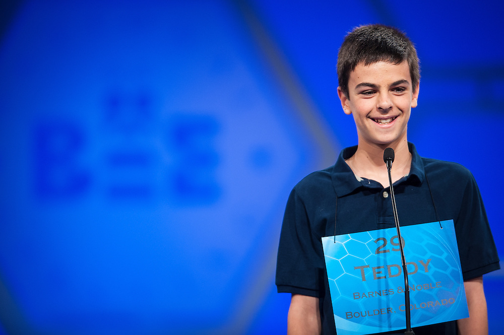 Teddy Schoenfeld, 13, of Boulder, Colorado, participates in round two of the preliminaries of the Scripps National Spelling Bee on May 28, 2014 at the Gaylord National Resort and Convention Center in National Harbor, Maryland.