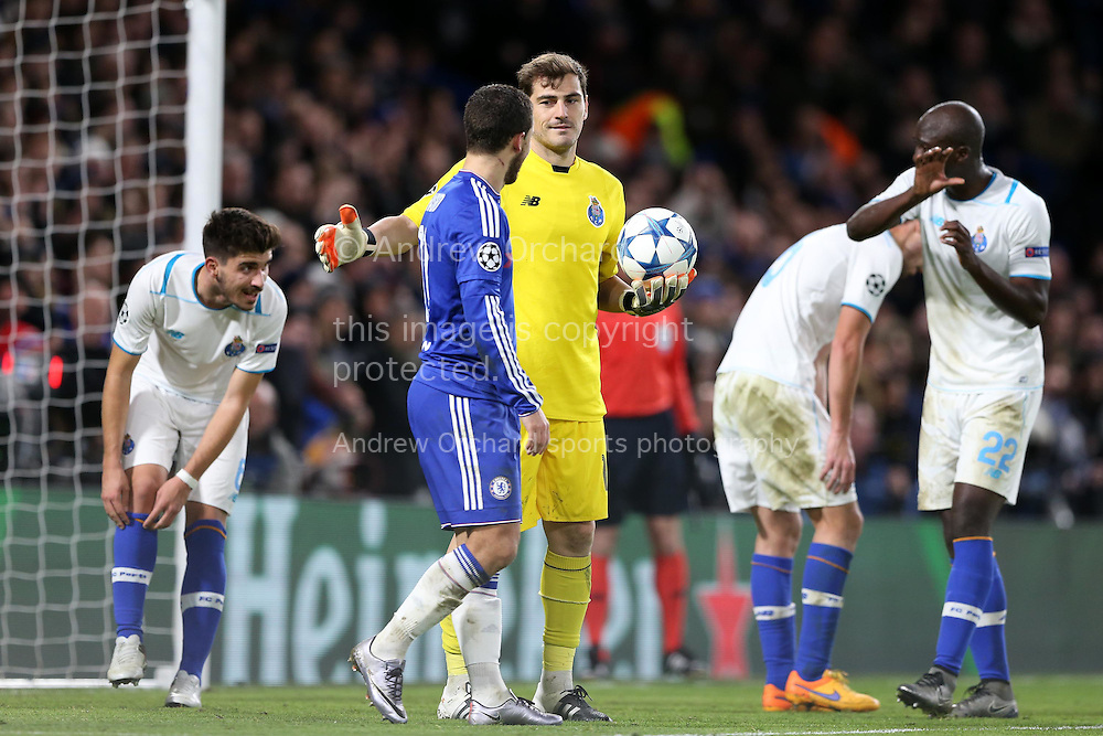 Goalkeeper Iker Casillas of FC Porto patting Eden Hazard of Chelsea on the back as he fails to score past the goalkeeper. UEFA Champions league group G match, Chelsea v Porto at Stamford Bridge in London on Wednesday 9th December 2015.<br /> pic by John Patrick Fletcher, Andrew Orchard sports photography.