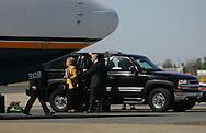 McAllen, TX - 13 Feb 2008 -.Senator Hillary Clinton, D-New York, departs McAllen Miller International Airport after a campaign appearance on Wednesday morning at the McAllen Convention Center.
