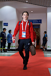 NANNING, CHINA - Monday, March 26, 2018: Wales' Harry Wilson arrives before the 2018 Gree China Cup International Football Championship Final between Wales and Uruguay at the Guangxi Sports Centre. (Pic by David Rawcliffe/Propaganda)