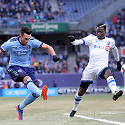 NEW YORK, NEW YORK - March 18: Jack Harrison #11 of New York City FC shoots past Ambroise Oyongo #2 of Montreal Impact during the New York City FC Vs Montreal Impact regular season MLS game at Yankee Stadium on March 18, 2017 in New York City. (Photo by Tim Clayton/Corbis via Getty Images)