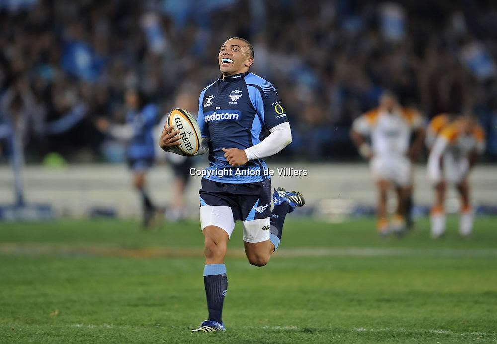 Joy for Bryan Habana on his way to his second try.<br /> Rugby - 090530 - Super 14 - FINAL - Vodacom Bulls vs Chiefs - LOFTUS - Pretoria - South Africa. The Bulls won 61 - 17.<br /> Photographer : Anton de Villiers / SASPA