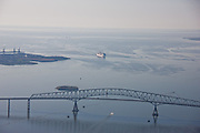 Carnival Pride cruise ship at the the Francis Scott Key Bridge from the air