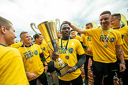 Ovbokha Agboyi during celebration of NK Bravo, winning team in 2nd Slovenian Football League in season 2018/19 after they qualified to Prva Liga, on May 26th, 2019, in Stadium ZAK, Ljubljana, Slovenia. Photo by Vid Ponikvar / Sportida
