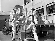 03/06/1954<br /> 06/03/1954<br /> 03 June 1954<br /> Kellogg's factory at Terenure, Dublin. Image shows cases of Corn Flakes being loaded on a truck outside the factory. Truck belonged to Horton and Clear.