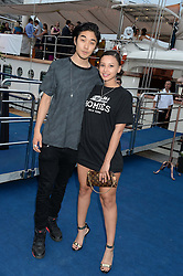 The Johnnie Walker Gold Label Reserve Party aboard John Walker & Sons Voyager, St.Georges Stairs Tier, Butler's Wharf Pier, London, UK on 17th July 2013.<br /> Picture Shows:-Leah Weller, Tomo Kurata.