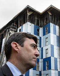 "© Licensed to London News Pictures. 16/11/2019. Bolton, UK. Mayor of Manchester ANDY BURNHAM at the site of the blaze . Firefighters work at the scene where a fire broke out overnight (15th/16th November 2019) at a block of flats known as "" The Cube "" , in Bolton Town Centre . At least two people are known to have been treated by paramedics at the scene of the six-story block , which is occupied by students of the University of Bolton . Photo credit: Joel Goodman/LNP"