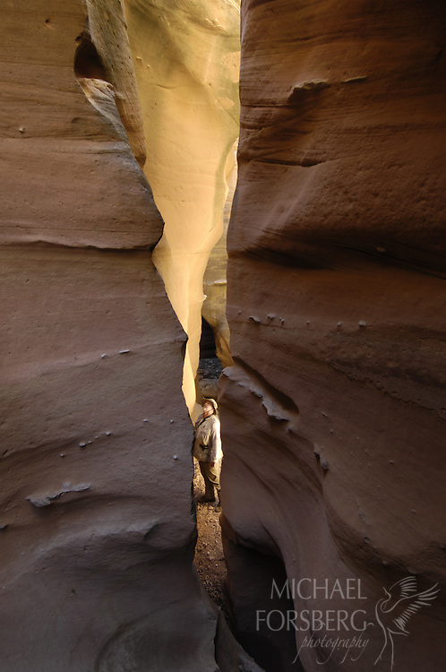Caprock escarpment (near Quitaque, TX)..As noonday sun lights up deep shadow, a hiker descends a narrow slot canyon called The Narrows in the Los Lingos drainage. This area runs deep with history, is private land, and for decades has had little human presence.