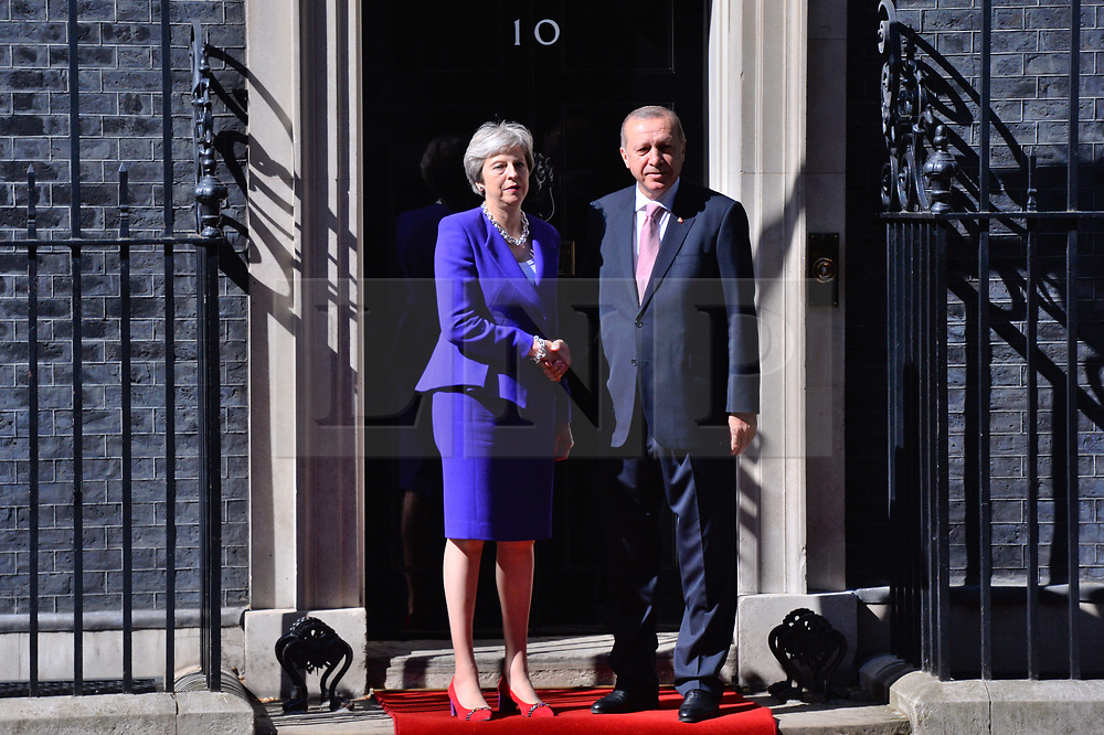 © Licensed to London News Pictures. 15/05/2018. London, UK. President of Turkey Recep TAYYIP ERDOGAN meets BritIsh Prime Minister THERESA MAY at No.10 Downing St during a three day visit to the UK.<br />