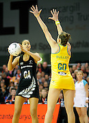 Maria Tutaia looks to pass for the Siilver Ferns. Constellation cup netball. Silver Ferns v Australian Diamonds at ILT Velodrome, Invercargill, New Zealand. Sunday 15th september 2013. New Zealand. Photo: Richard Hood/photosport.co.nz
