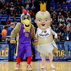 Feb 7, 2018; New Orleans, LA, USA; New Orleans Pelicans mascots Pierre the Pelican and King Cake Baby perform for the crowd during a delay of a game between the New Orleans Pelicans and the Indiana Pacers that was postponed after a nearly two hour delay due to a roof leak at the Smoothie King Center. Mandatory Credit: Derick E. Hingle-USA TODAY Sports