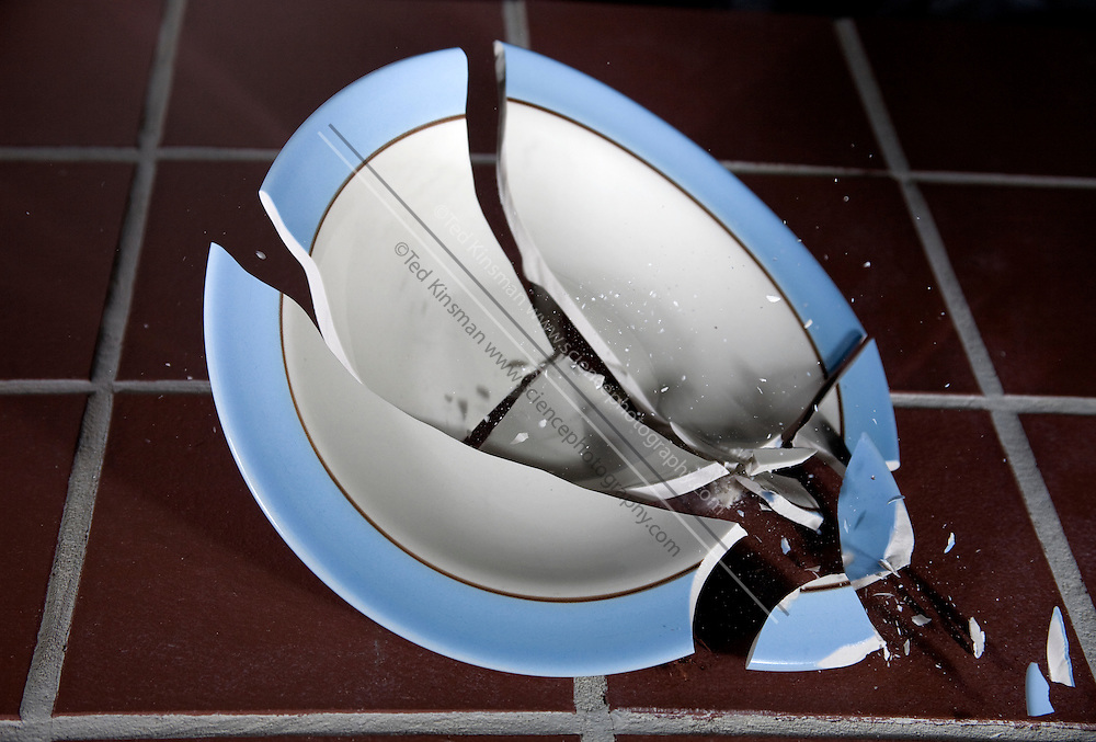 A dish breaking as it hits the floor.  Photographed with high-speed flash of a duration of 1/1,000,000th of a second.  .