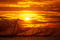 Chinese fishing nets at sunset, Fort Cochin, Kochi (Cochin), Kerala, India