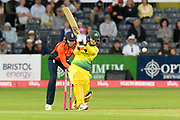 Rachael Haynes of Australia plays an attacking shot during the 3rd Vitality International T20 match between England Women Cricket and Australia Women at the Bristol County Ground, Bristol, United Kingdom on 31 July 2019.
