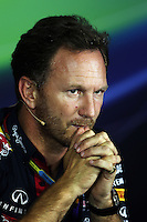 Christian Horner (GBR) Red Bull Racing Team Principal in the FIA Press Conference.<br /> Italian Grand Prix, Friday 5th September 2014. Monza Italy.