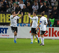 15.10.2013, Friends Arena, Stockholm, SWE, FIFA WM Qualifikation, Schweden vs Deutschland, Gruppe C, im Bild Germany 8 Mesut Özil score 2-1,, , Nyckelord , Keywords : football , fotboll , soccer , FIFA , World Cup , Qualification , Sweden , Sverige , Schweden , Germany , Tyskland , Deutschland jubel jublande glad gl©dje lycka happy happiness celebration celebrates // during the FIFA World Cup Qualifier Group C Match between Sweden and Germany at the Friends Arena, Stockholm, Sweden on 2013/10/15. EXPA Pictures © 2013, PhotoCredit: EXPA/ PicAgency Skycam/ Ted Malm<br /> <br /> ***** ATTENTION - OUT OF SWE *****