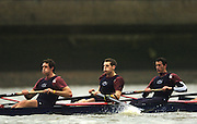 2004_Oxford University Trail Eights, Putney, London:ENGLAND. 14.12.04. Crew list. OUBC [right to left].Indians [Middlx]. Colin Smith, Robin Bourne-Taylor [President] Barney Williams. .Photo Peter Spurrier.email images@intersport-images.com. ...........[Mandatory Credit Peter Spurrier/ Intersport Images] Varsity:Boat Race, Rowing Course: River Thames, Championship course, Putney to Mortlake 4.25 Miles