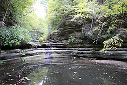 25 September 2012:   Illinois scenery near Oglesby and Ottawa..Matthiessen State Park. Hiking trail in the Upper Dells area has a stair case leading out.  The creek is dry this year because of the 2012 drought.  This small waterfall formation is at a location named giants bathtub