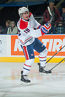 KELOWNA, CANADA - NOVEMBER 7: Jacob Cardiff #19 of Spokane Chiefs warms up against the Kelowna Rockets on November 7, 2014 at Prospera Place in Kelowna, British Columbia, Canada.  (Photo by Marissa Baecker/Shoot the Breeze)  *** Local Caption *** Jacob Cardiff;