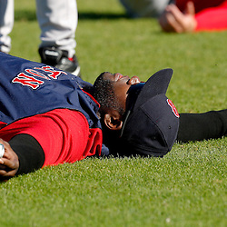 February 23, 2011; Fort Myers, FL, USA; Boston Red Sox first baseman David Ortiz (34) stretches during spring training at the Player Development Complex.  Mandatory Credit: Derick E. Hingle