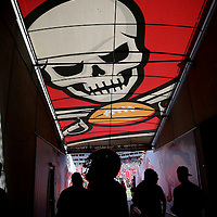 TAMPA, FL - OCTOBER 12:   Buccaneers players prepare in the tunnel for player introductions prior to an NFL football game at Raymond James Stadium on October 12, 2014 in Tampa, Florida. (Photo by Alex Menendez/Getty Images) *** Local Caption *** Buccaneers