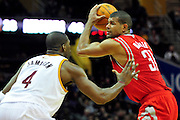 Feb. 23, 2011; Cleveland, OH, USA; Houston Rockets small forward Shane Battier (31) looks for a pass over Cleveland Cavaliers power forward Antawn Jamison (4) during the third quarter at Quicken Loans Arena. The Rockets beat the Cavaliers 124-119. Mandatory Credit: Jason Miller-US PRESSWIRE