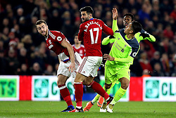 Roberto Firmino of Liverpool, Antonio Barragan and Calum Chambers of Middlesbrough tangle into each other - Mandatory by-line: Robbie Stephenson/JMP - 14/12/2016 - FOOTBALL - Riverside Stadium - Middlesbrough, England - Middlesbrough v Liverpool - Premier League