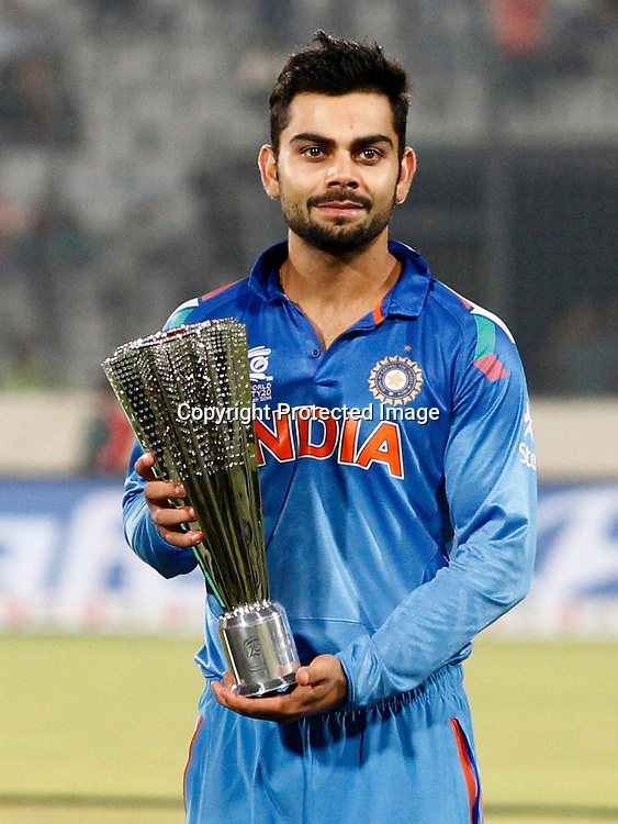 Player of the series, Virat Kohli, ICC T20 cricket World Cup Final - Sri Lanka v India, Sher-e-Bangla National Cricket Stadium, Mirpur, Bangladesh, 6 April 2014. Photo: www.photosport.co.nz