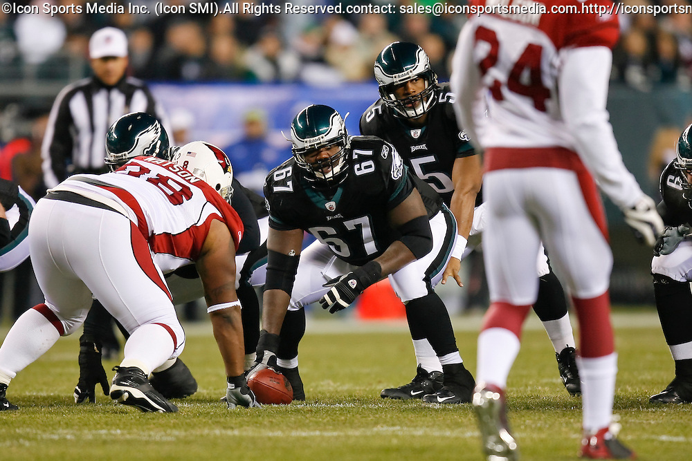 27 Nov 2008: Philadelphia Eagles offensive lineman Jamaal Jackson #67 during the game against the Arizona Cardinals on November 27th, 2008. The Eagles won 48 to 20 at Lincoln Financial Field in Philadelphia, Pennsylvania.