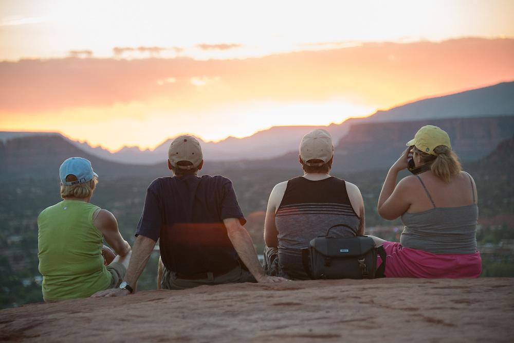 Four Tourists Watching Sunset<br /> Airport Vortex<br /> Sedona Arizona